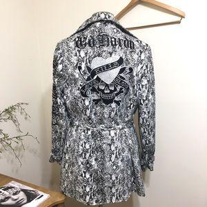 Ed Hardy Snakeskin M White Black Trench Coat